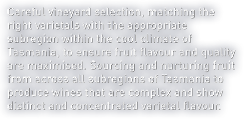 Careful vineyard selection, matching the right varietals with the appropriate subregion within the cool climate of Tasmania, to ensure fruit flavour and quality are maximised. Sourcing and nurturing fruit from across all subregions of Tasmania to produce wines that are complex and show distinct and concentrated varietal flavour.